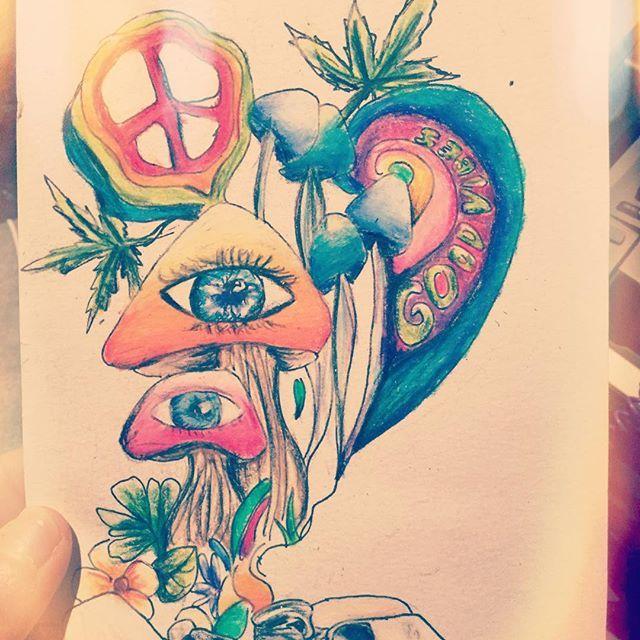 70 Cute Peace Tattoos: Just A Bit #trippy. #trippyart #weed #weedstagram