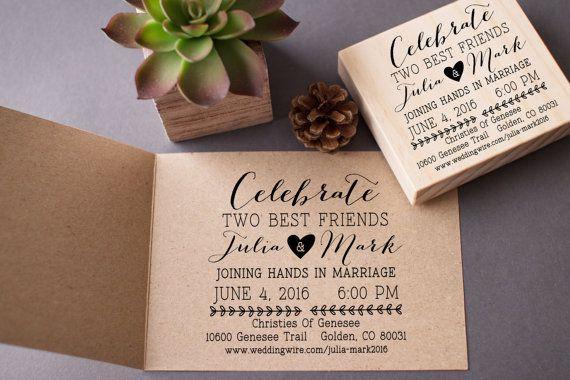 Wedding Invitation Stamp Custom Celebrate Best Friends Diy Stamp Your Own Wedding Invi Wedding Invitation Stamp Personalized Wedding Stamp Invitation Stamp