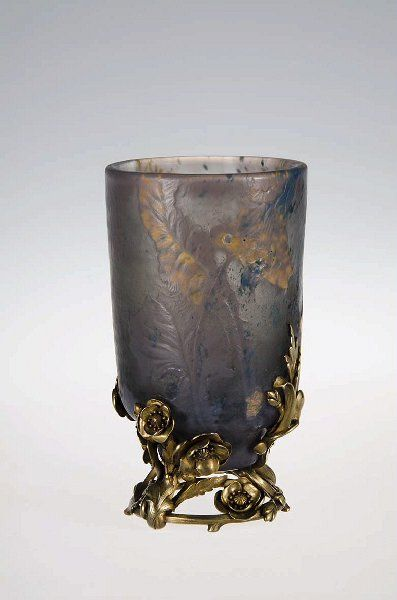 Gallé, vase, blown and engraved glass, silver mount by Gustave-Roger Sandoz, 1895