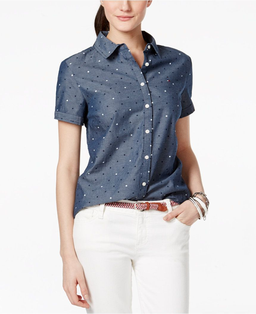dc9cd8c666b9ab Tommy Hilfiger Polka-Dot Short-Sleeve Shirt - Tops - Women - Macy s ...