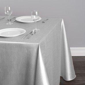90 X 132 In Rectangular Shantung Silk Tablecloth Silver