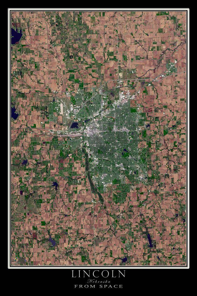 Lincoln Nebraska Satellite Poster Map Lincoln Nebraska Earth - World map online satellite 2015