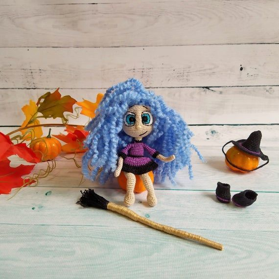 Little Halloween witch on a broom doll, collectible Halloween decoration #broomdolls