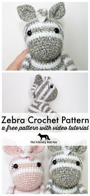 Free Crochet Zebra Pattern #crochetdinosaurpatterns