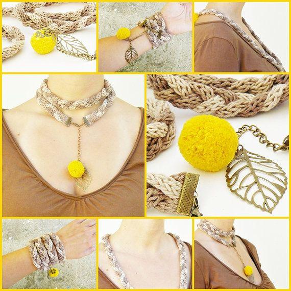 beige braided necklace with yellow pom pom knitted by spikycake