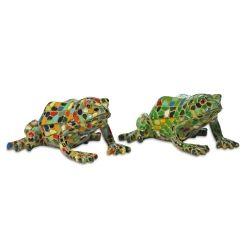 Set Of Two Green U0026 Harlequin Mosaic Resin Frog Ornaments Garden Ornaments U0026  Accessories #gardening