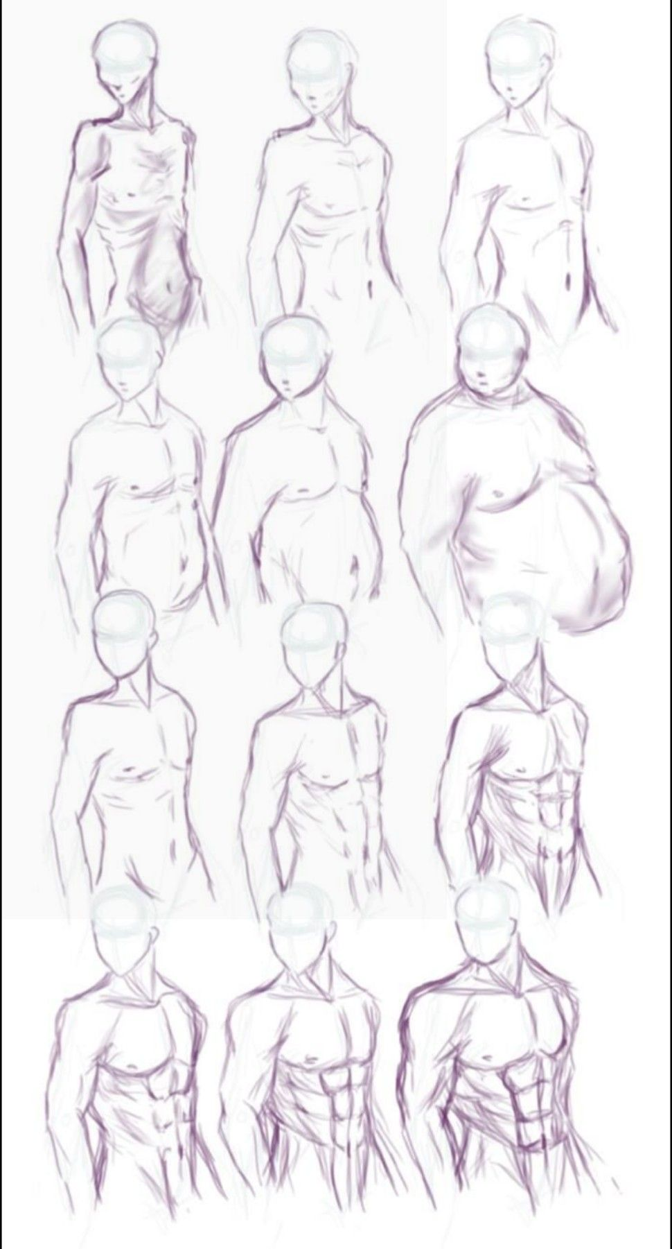 body type thick fat meager slim muscular anatomy reference form pose ...
