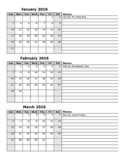 3 Month Calendar Template 2016 Printable Calendar Calendar