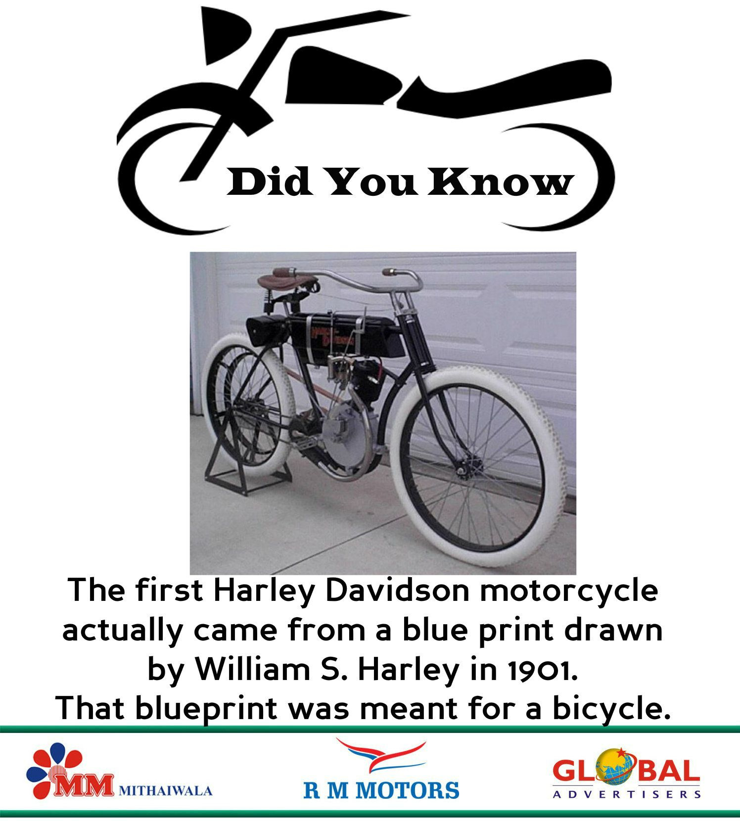 RMMotors # Did you Know # Facts :- The first Harley ...