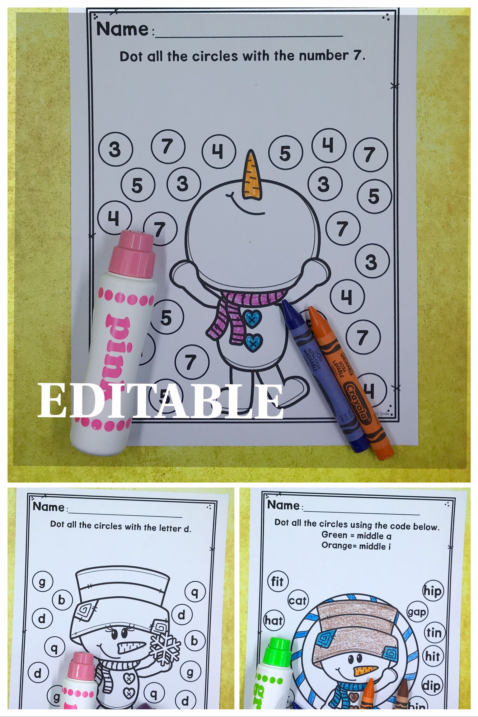 Editable Worksheets And Super Cute Snowman Themed Dot A