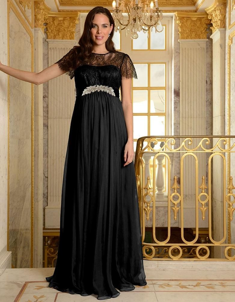 62b1a40070 Black Silk and Lace Maternity Gown