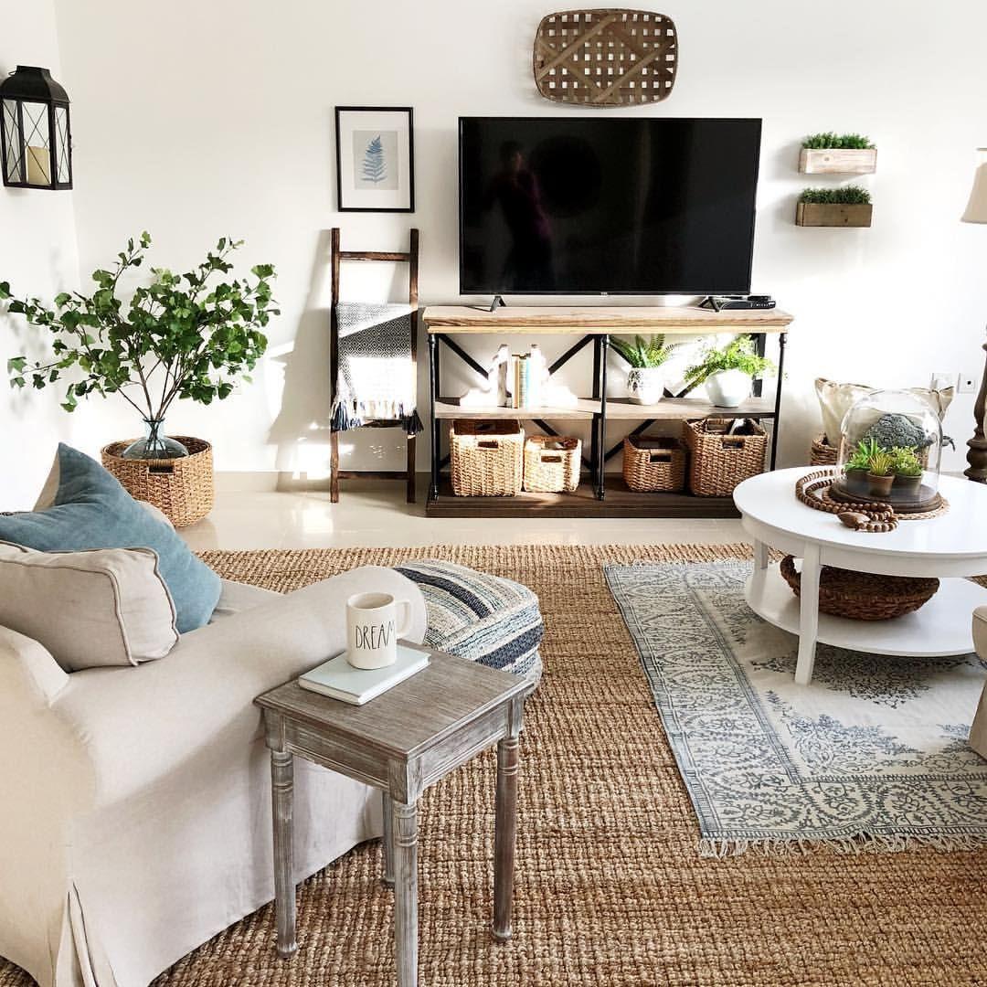 Boho Entertainment Center Living Room Farmhouse Style Woven Rug