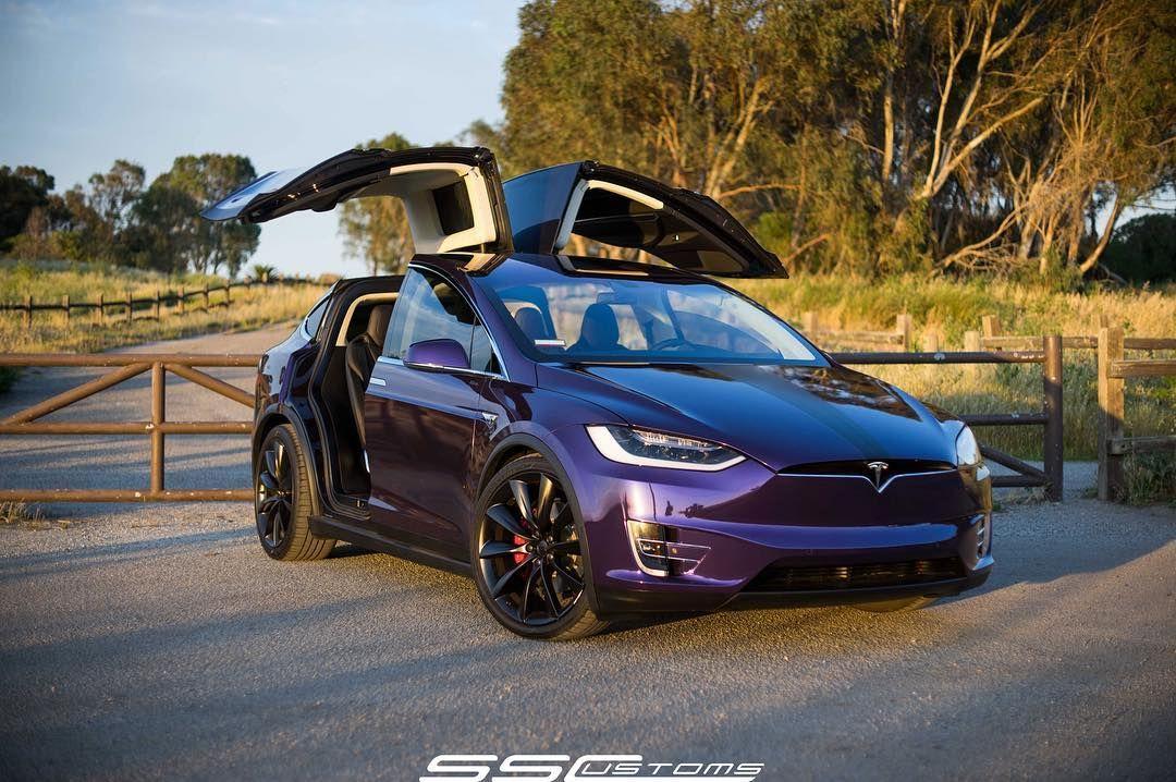Tesla Model X in purple color