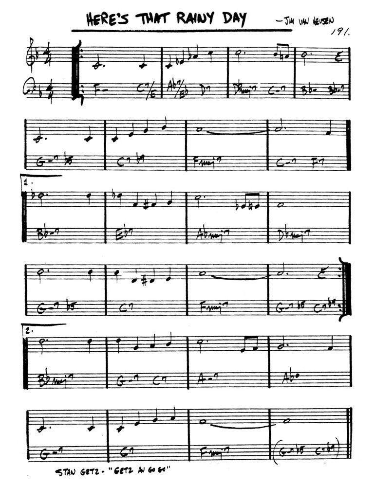 Here's That Rainy Day - Van Heusen   Jazz Sheet Music Online ...