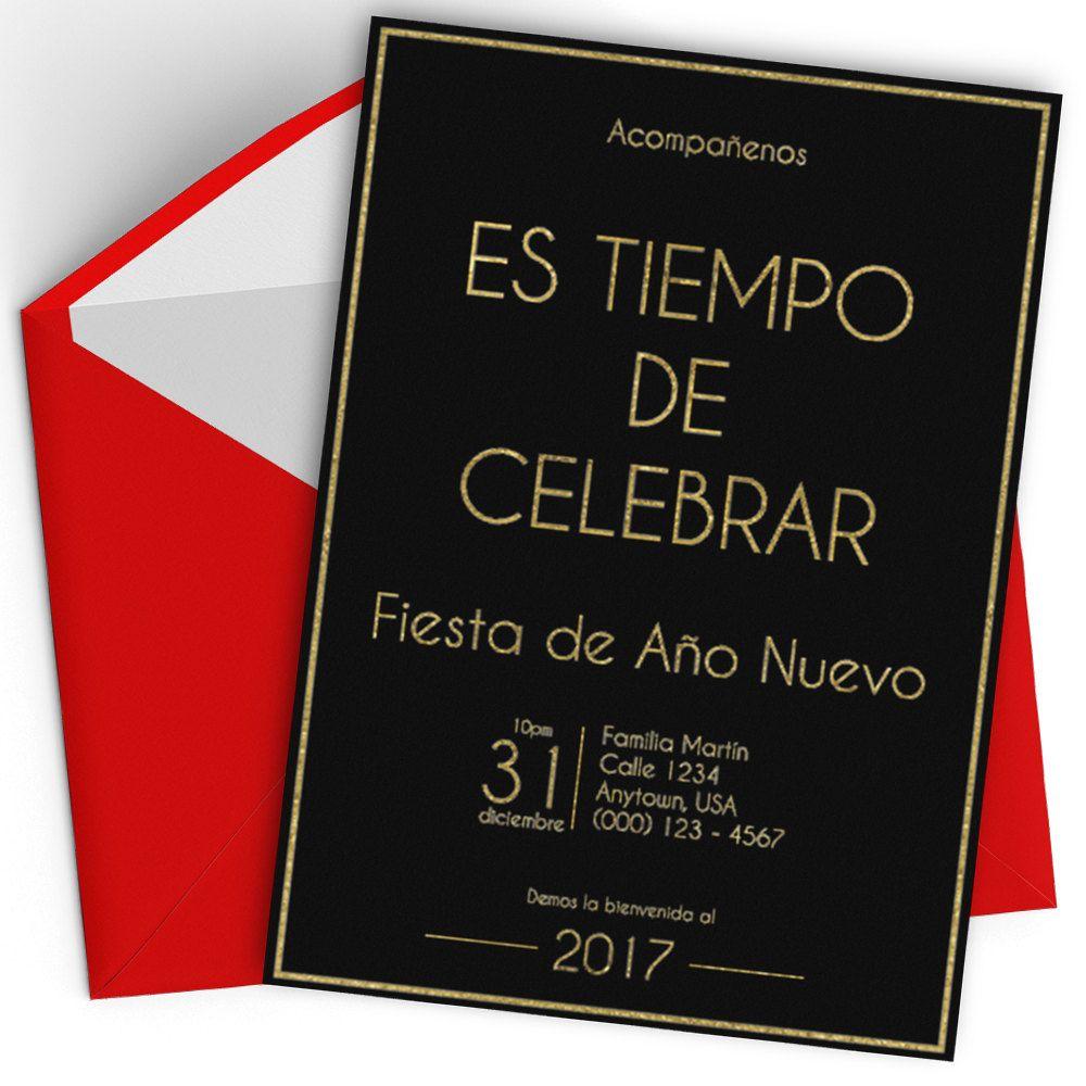 SPANISH New Year\'s Eve 2017 Party Invite Printable, Feliz Ano Nuevo ...