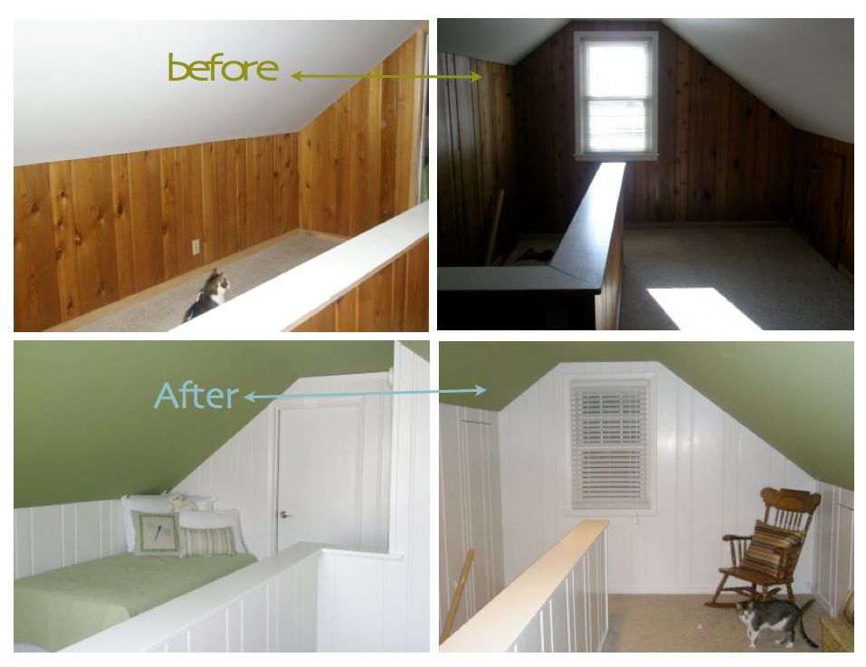 Painting over wood paneling before and after painted Paneling makeover ideas