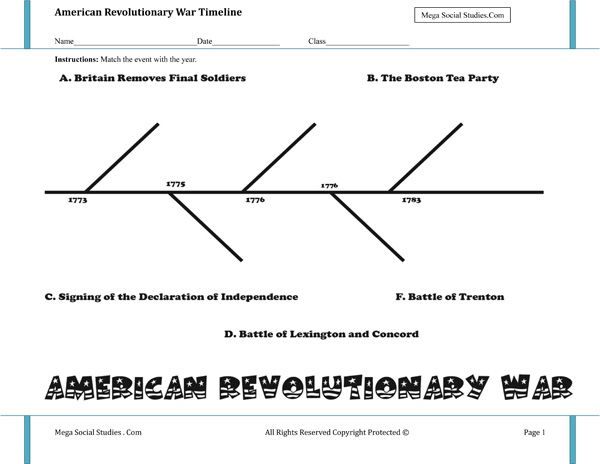 American Revolutionary War Timeline Worksheet  H