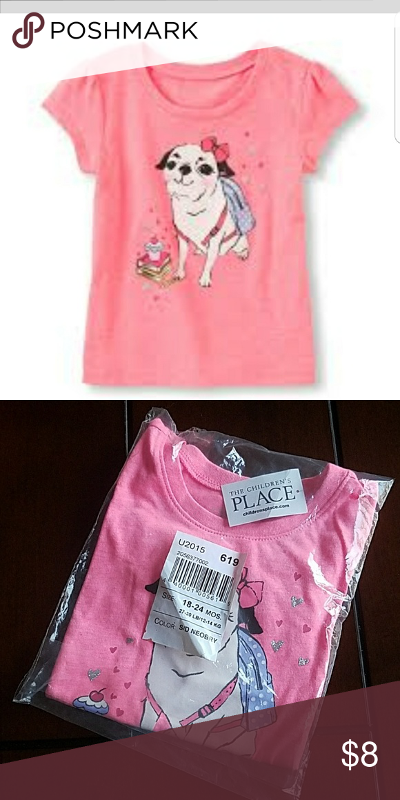 756b487b The Childrens Place Pug Tee Shirt Available new in package with tags size  18 to 24 months. The Children's Place Shirts & Tops Tees - Short Sleeve