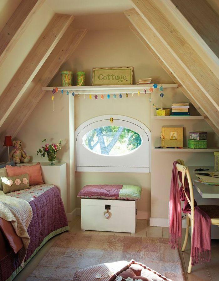 kinderzimmer mit dachschräge dachgeschoss dachboden schreibtisch ... | {Bett kinderzimmer 73}