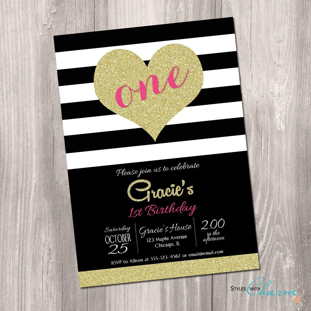 St Birthday Invitation Black White Gold Heart Invitation Pink - Digital first birthday invitation