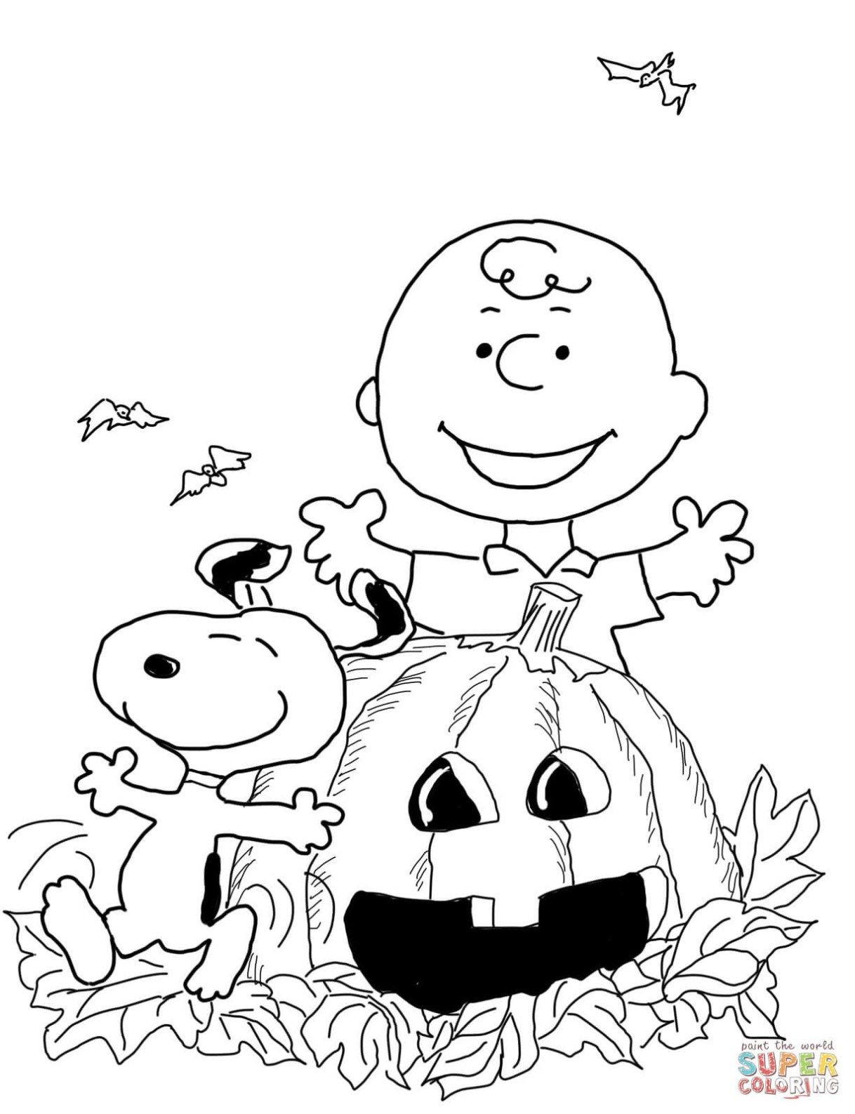 Peanuts Coloring Pages Charlie Brown Halloween Coloring
