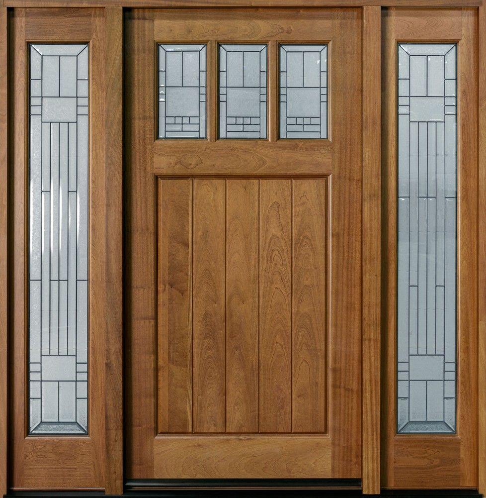 Entry Door Custom Single With Two Sidelites Solid Wood Door