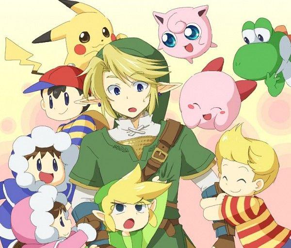 Yoshi Jigglypuff Kirby Lucas Link Toon Link Pikachu Ness And