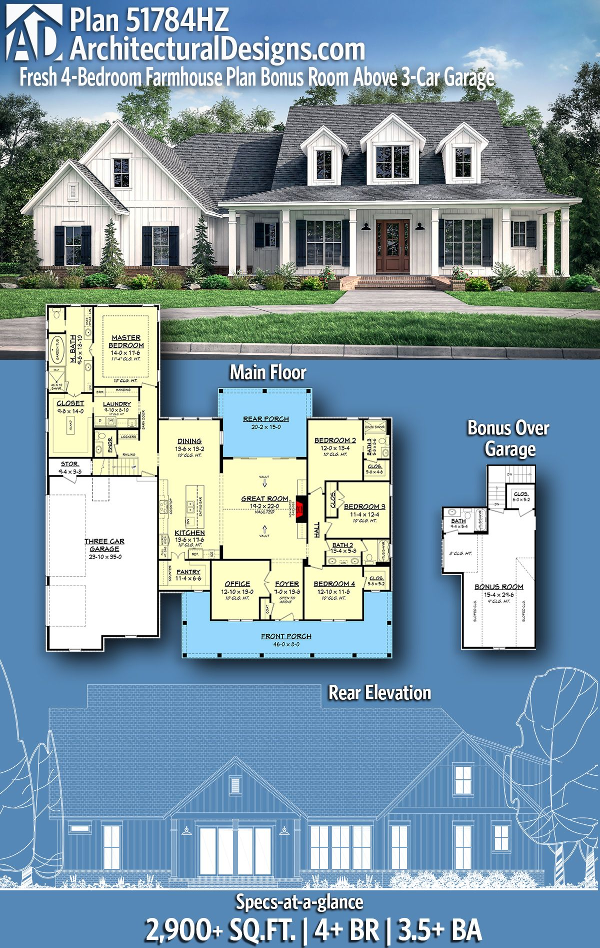 desertrose architectural designs farmhouse plan 51784hz gives you 4 beds 3 5 baths 2 900 sq ft of heated living space with a bonus room above  [ 1200 x 1894 Pixel ]