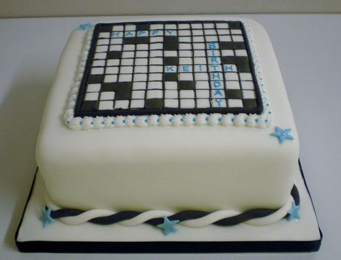 White Cubic Cross Word Puzzle Birthday CakeJPG Cakes And So - Words on cake for birthday