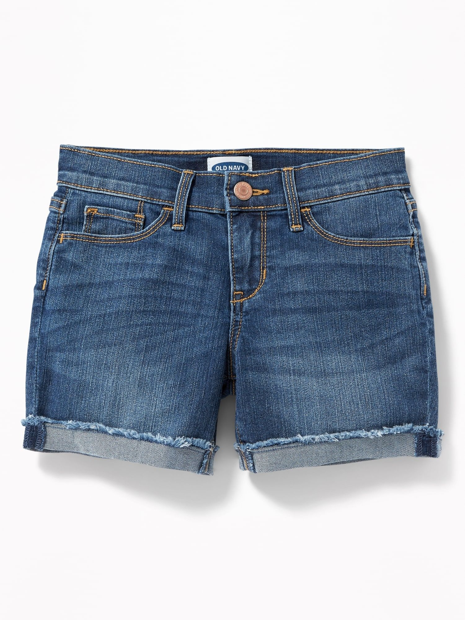 Rolled Fray Hem Denim Shorts for Girls | Frayed hem jeans