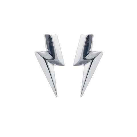 Flat Top Lightning Bolt Earrings In Sterling Silver