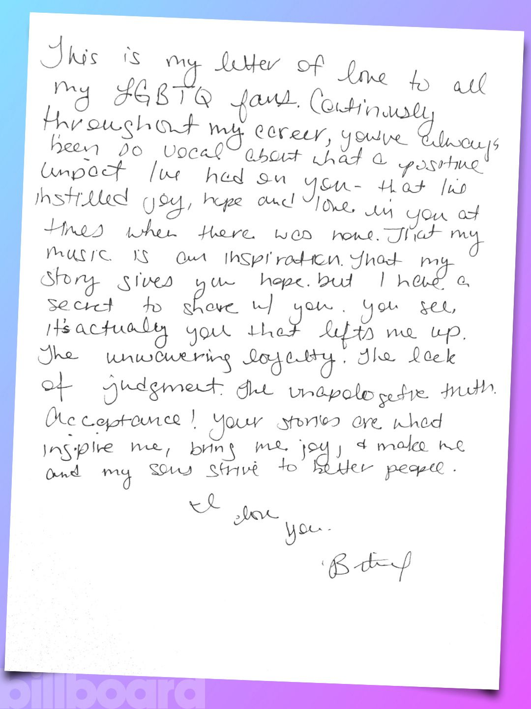 Britney Spears Gay Pride Month Handwritten Love Letter Exclusive