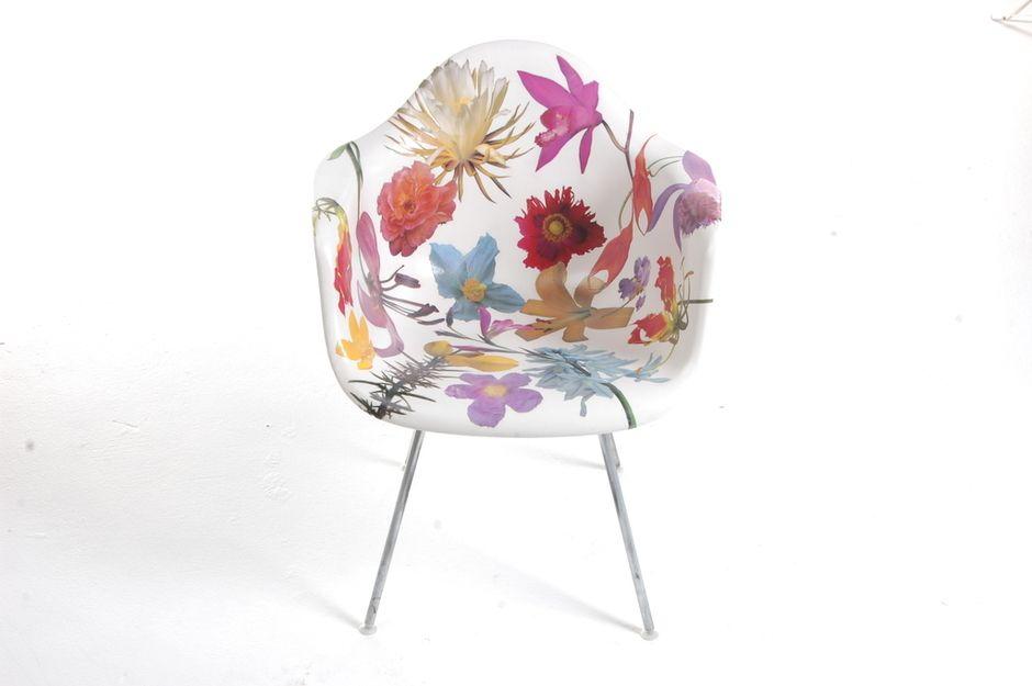 PHILLIP ESTLUND, GENUS CHAIRS: collage on vintage fiberglass chair with urethane paint.