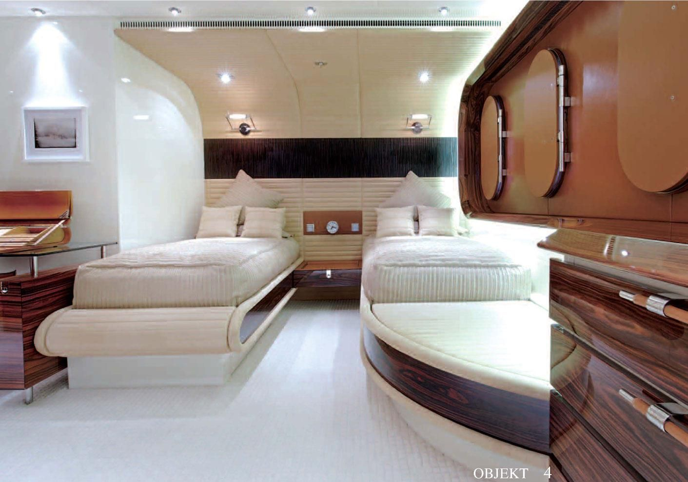 Innenarchitektur Yacht a guest cabin with leather trimmed portholes the writing desk is by
