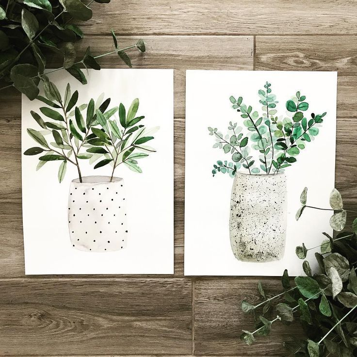"Alia Eriksen on Instagram: ""Cute couple ���� • • • • • • #rustic #rusticdecor #artistsoninstagram #watercolor #watercolorpainting #botanical #plants #pottery…"""