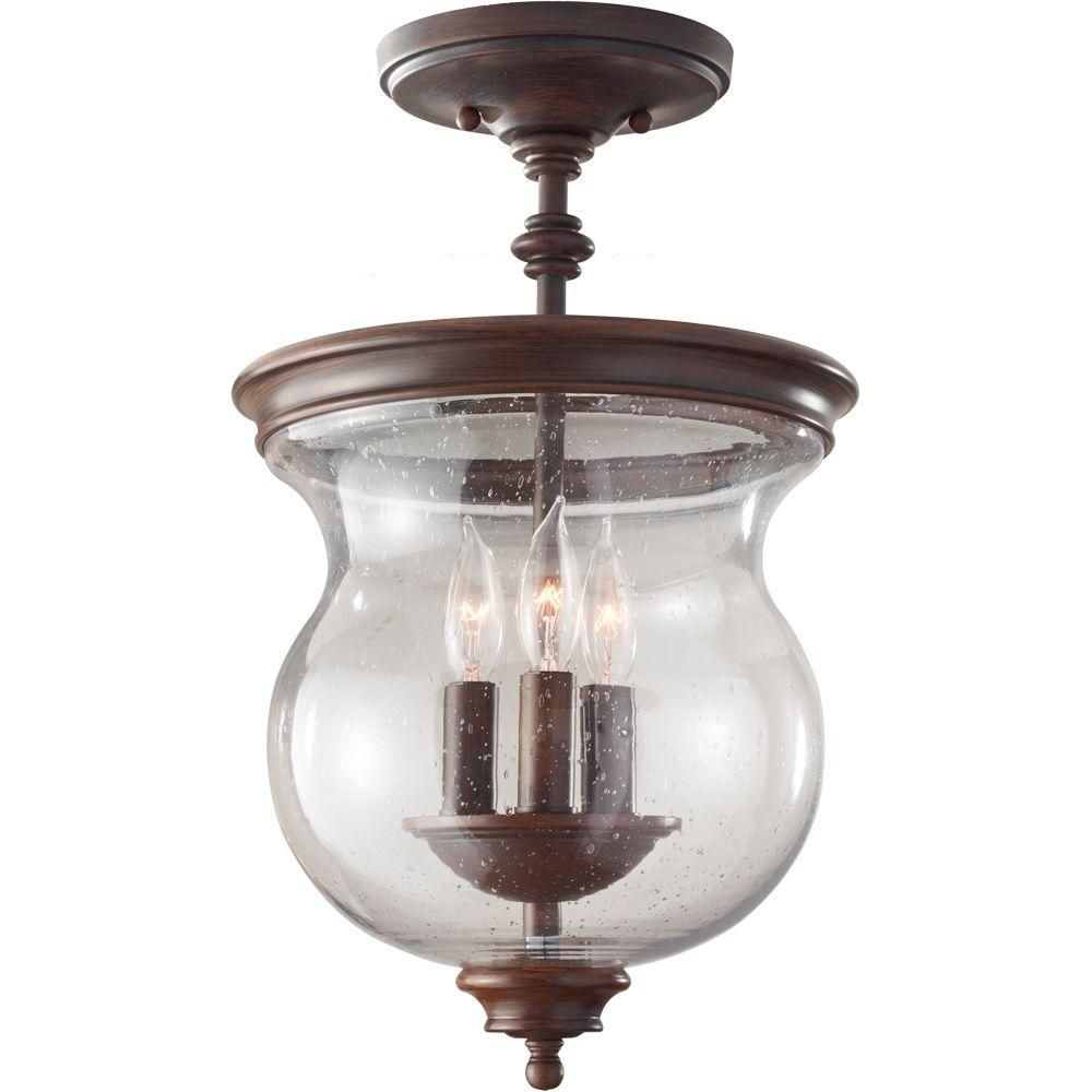 Feiss Pickering Lane 3-Light Heritage Bronze Semi-Flush Mount ...