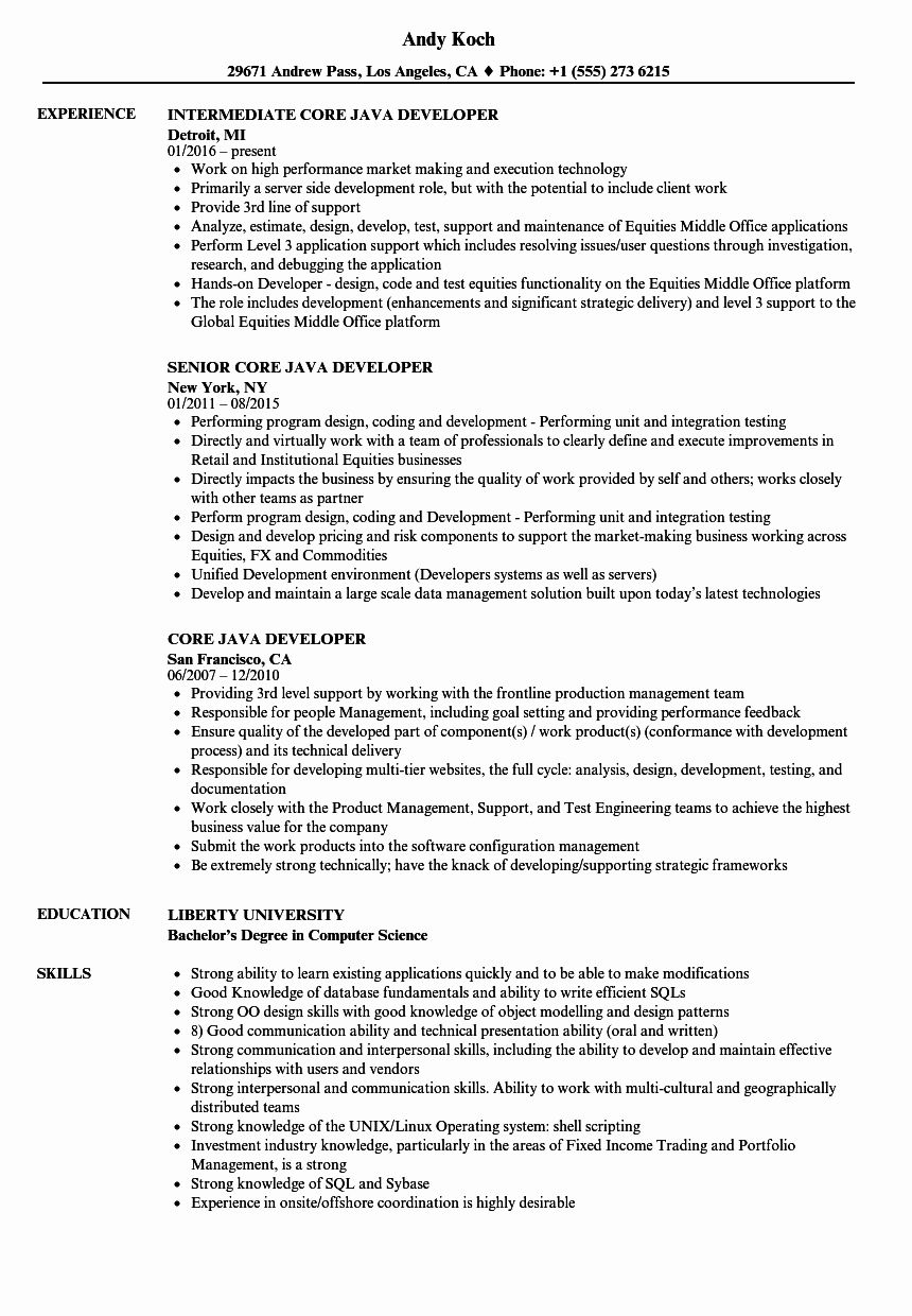 Core Java Developer Resume Lovely Core Java Developer