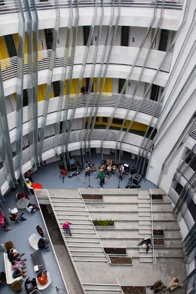 the central courtyard on the second floor serves as a community