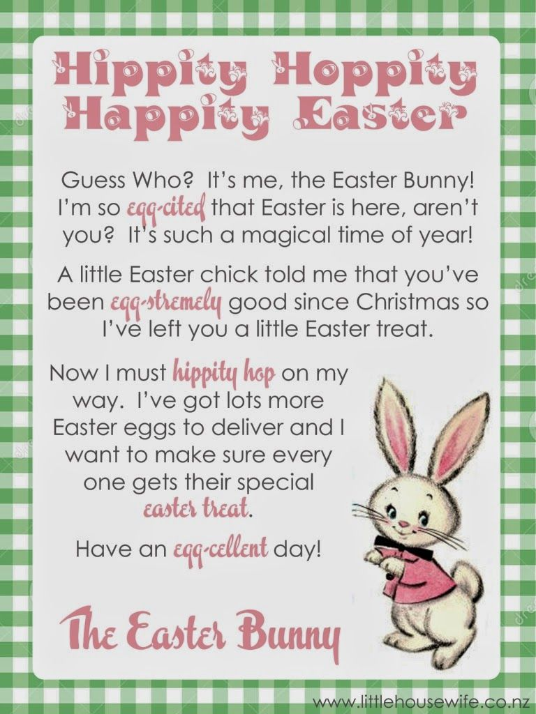 Little Housewife Free Easter Printable Letter From The Easter Bunny Easter Bunny Letter Easter Bunny Easter Printables
