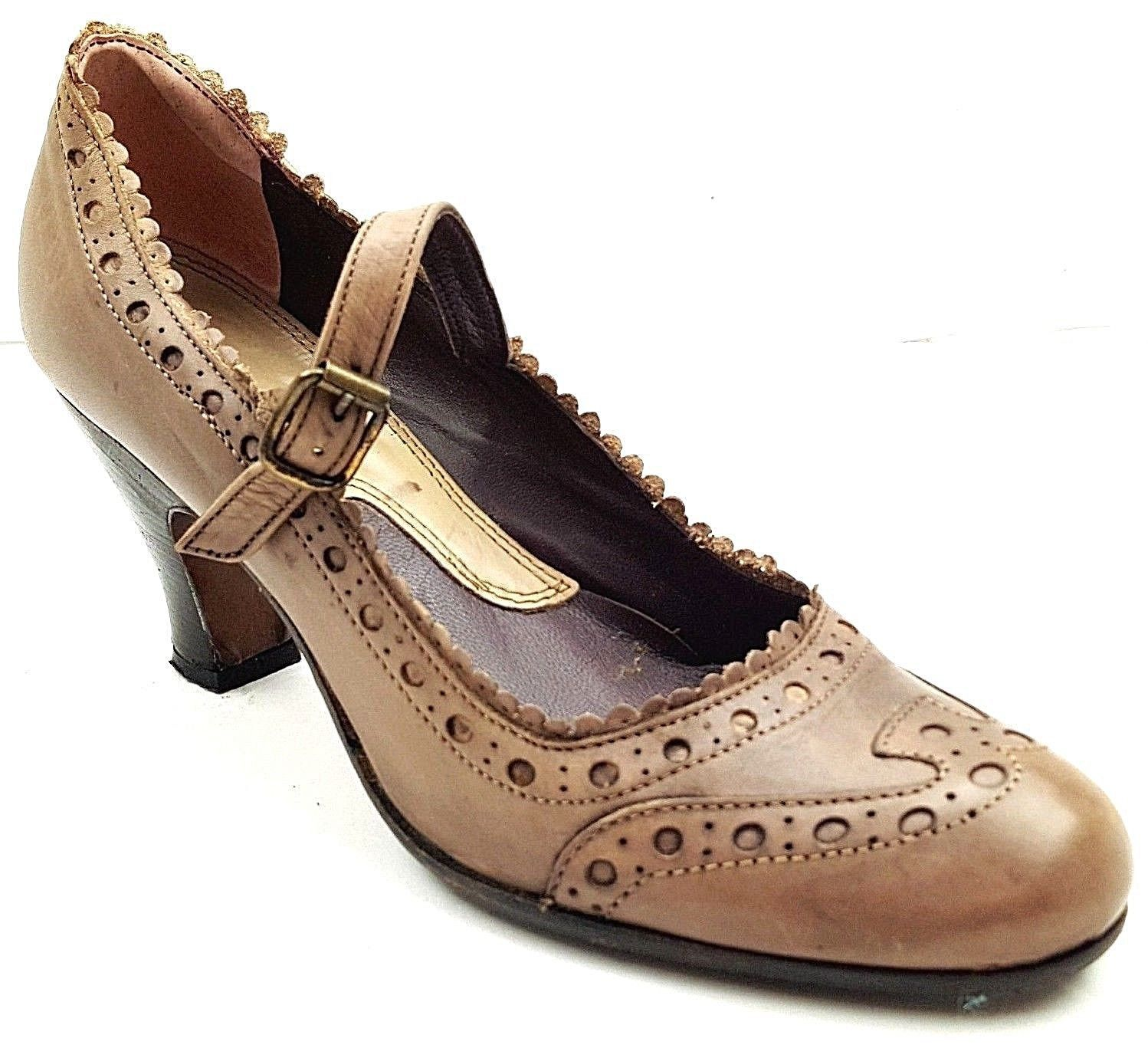 Donna Italy GIXUS Made in Italy Donna Pumps Mary Jane Strap Taupe Gris Pelle 34484e