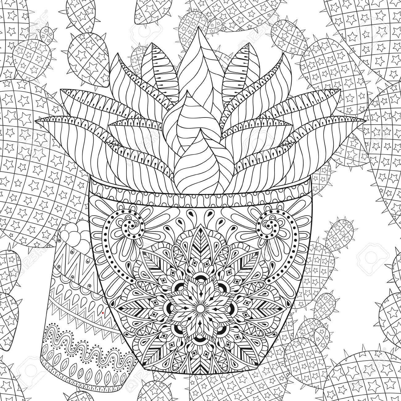 succulent cactus desert plant doodle coloring page | read it ...