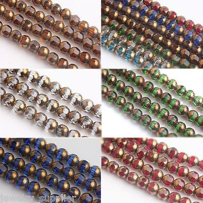 Lots 20/40Pcs Rondelle Faceted Crystal Glass Loose Charms Spacer Beads 8mm New