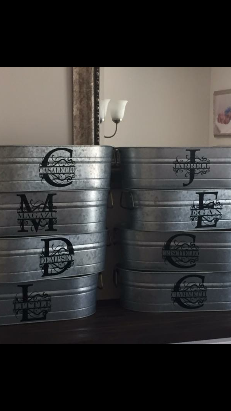 Monogrammed Galvanized Tub Cricut Galvanized Tub
