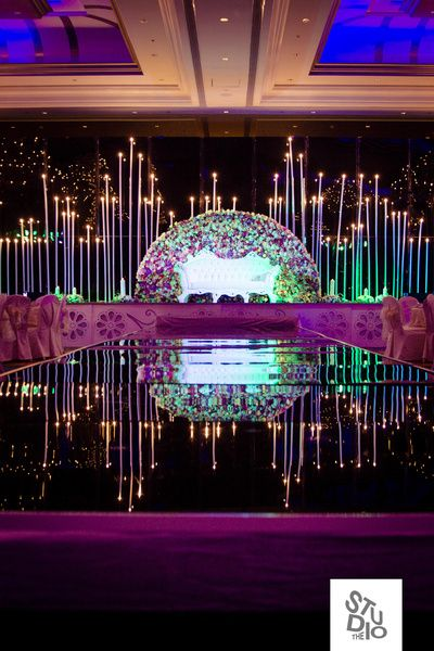 Wedding decoration ideas decoration for marriage reception lighting stage backdrop white sofa seating floral wall indoor banquet stage junglespirit Image collections