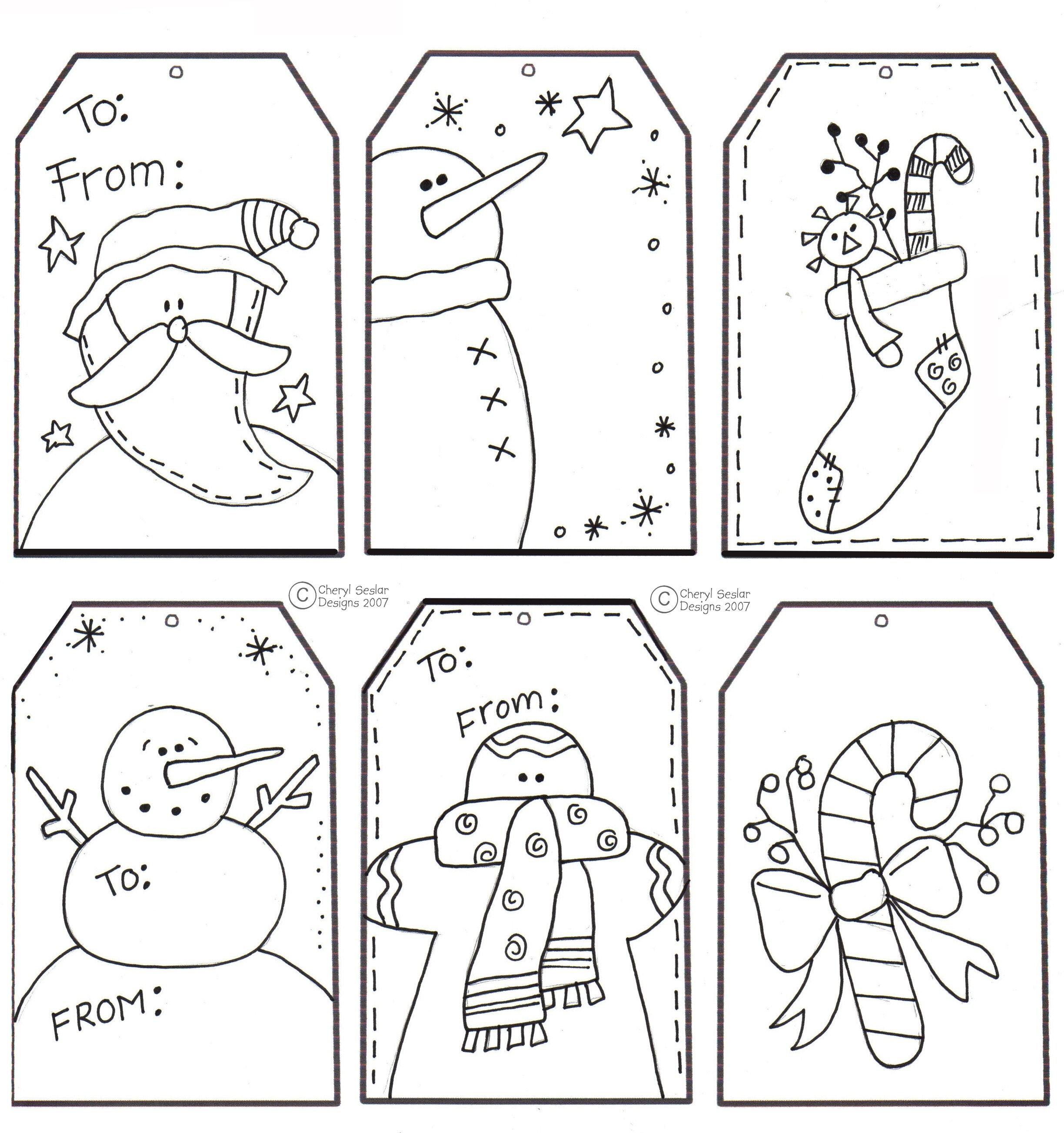 Printable Christmas Tags for Coloring