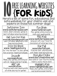 10 Free Learning Websites for Kids with Free Printable