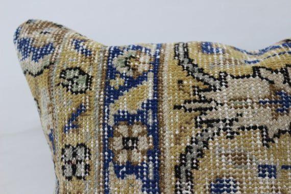 16x16 Rug Pillow, Bohemian Pillow, Embroidered Pillow, Throw Pillow, Blue Pillow, Designer Pillow, C