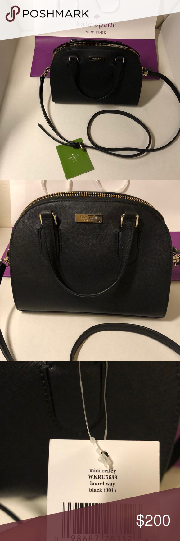 "a3f0b3fe3 New Kate spade mini Riley black satchel crossbody NWT. Authentic. Size:  9.5"" x 7.5"". Firm with price. No flaws. Has a back pocket, detachable and  adjustable ..."