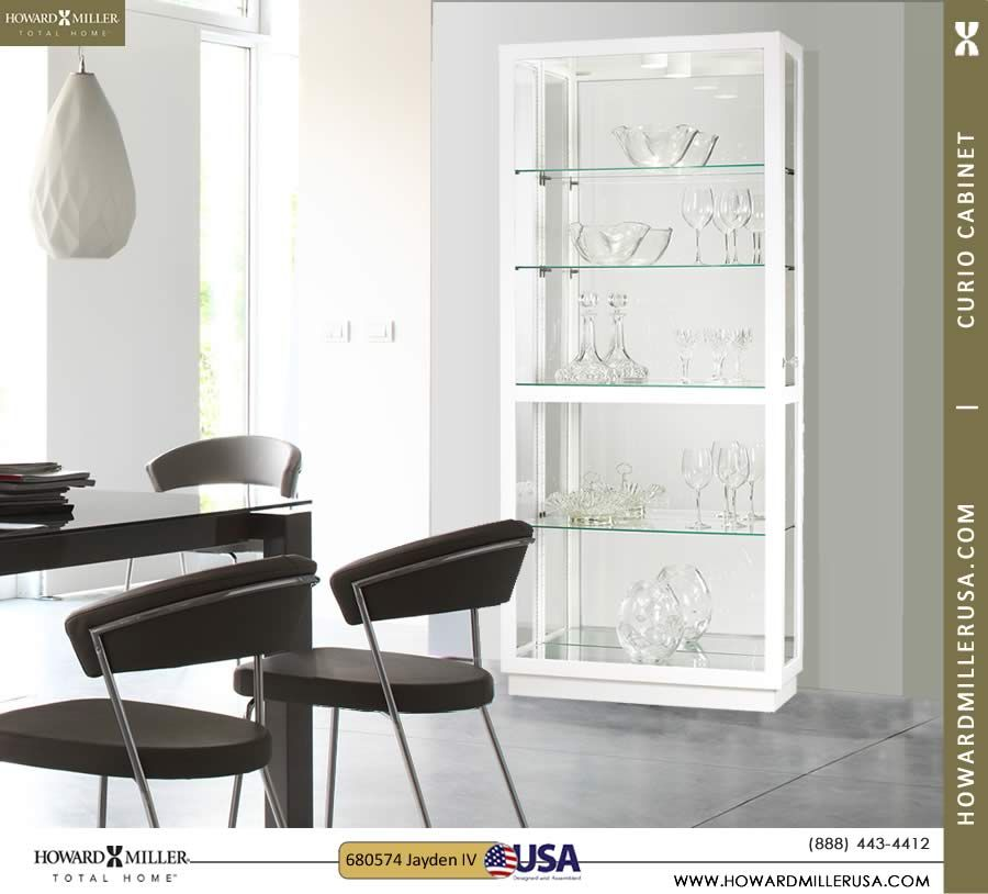 680574 Jayden IV Gloss White Finish Curio Cabinet