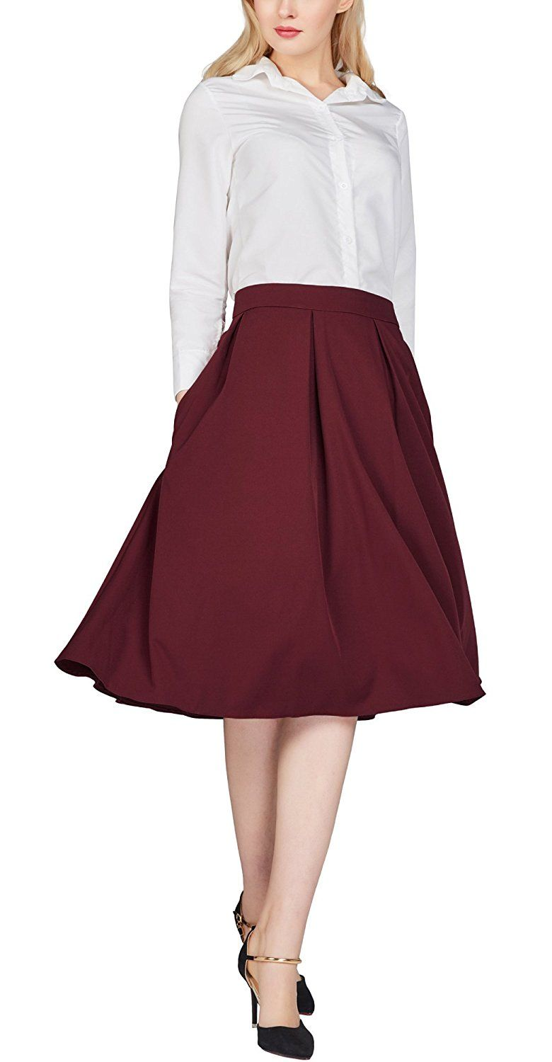 92e342cd26 Urban CoCo Women s Flared A line Skirt Pleated Midi Skirt with Pockets (S